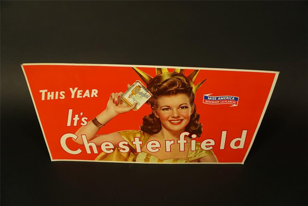 NOS 1941 Chesterfield Cigarettes cardboard sign featuring Miss America Rosemary La Planche. - Front 3/4 - 191657