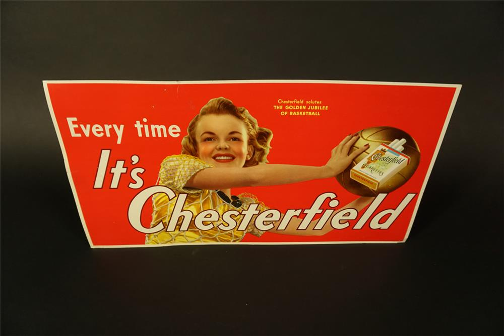 NOS 1941 Chesterfield Cigarettes Golden Jubilee of Basketball single-sided cardboard trolley sign. - Front 3/4 - 191658