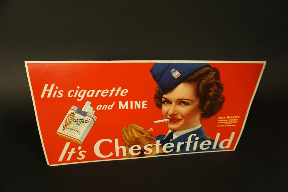 NOS 1940s Chesterfield Cigarettes cardboard trolley sign featuring film actress Joan Bennett supporting the war effort. - Front 3/4 - 191659