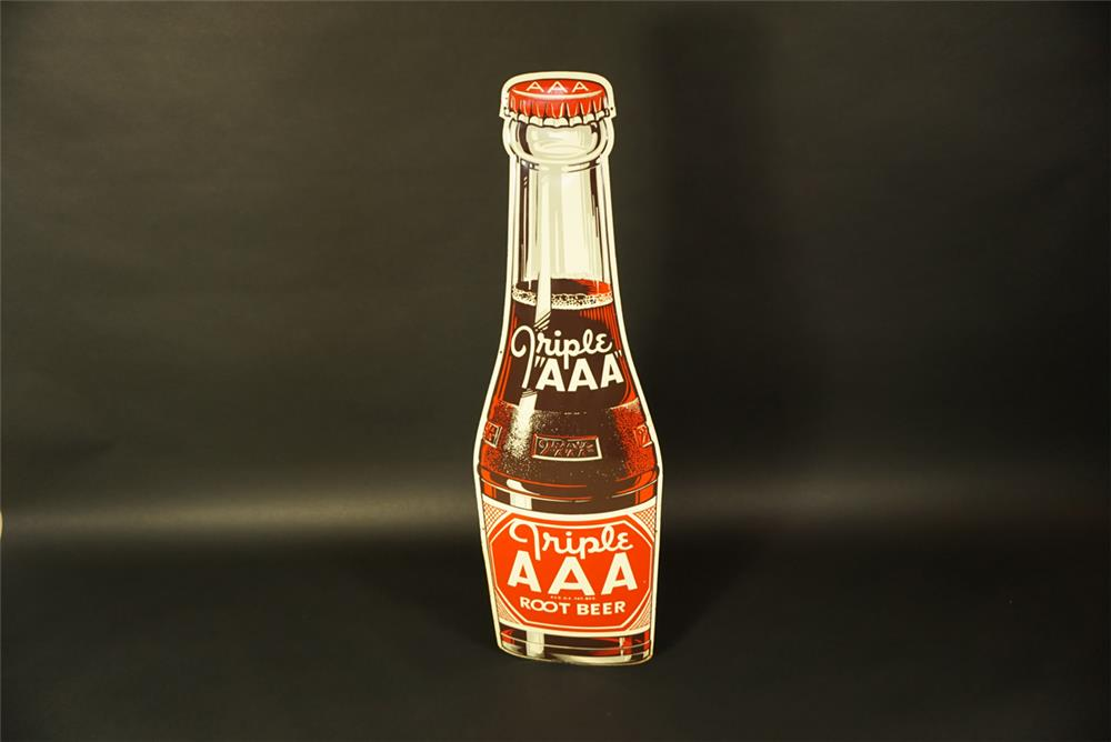 NOS 1948 Triple A Root Beer single-sided die-cut bottle shaped tin sign. - Front 3/4 - 191660