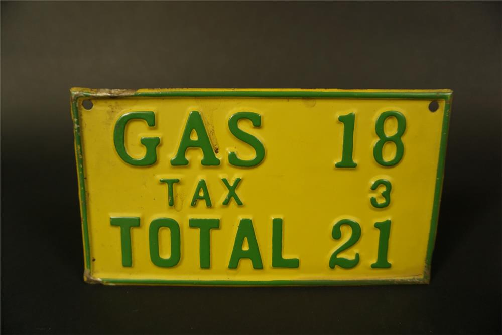 Circa 1920s Filling station embossed metal fuel island price sign. - Front 3/4 - 191664