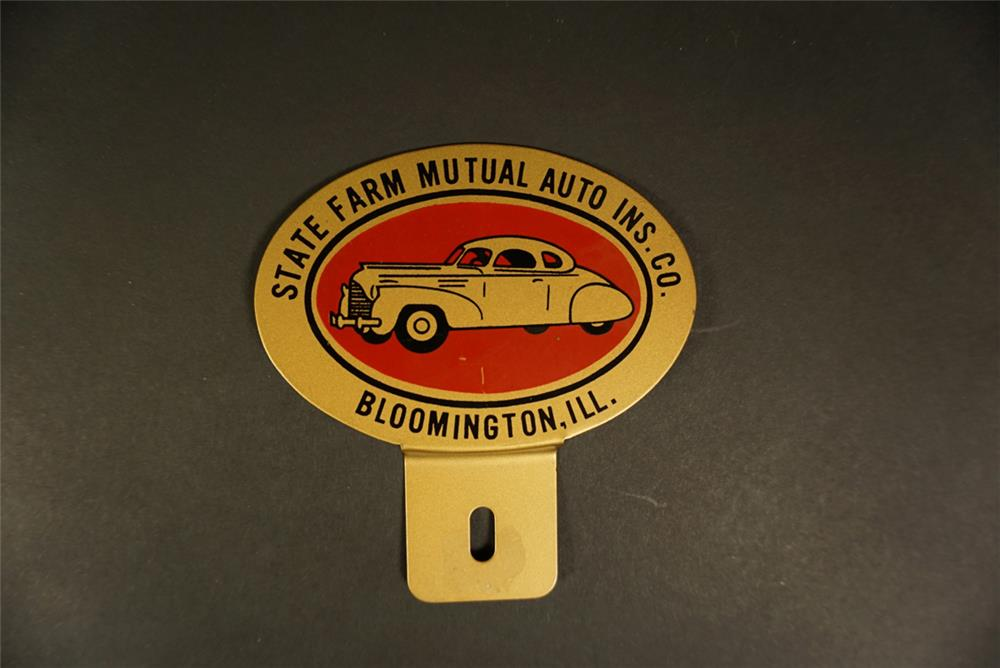 1930s State Farm Mutual Insurance die-cut tin license plate attachment sign with period businessman's coupe graphic. - Front 3/4 - 191666