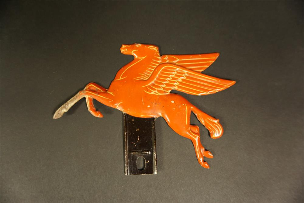 "Magnificent 1930s Mobil Oil ""Pegasus"" die-cut tin license plate attachment sign. - Front 3/4 - 191668"