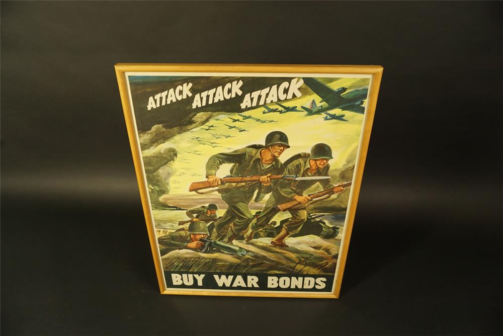 Historically significant NOS 1942 Buy War Bonds war effort poster with beach landing scene depicted. - Front 3/4 - 191670