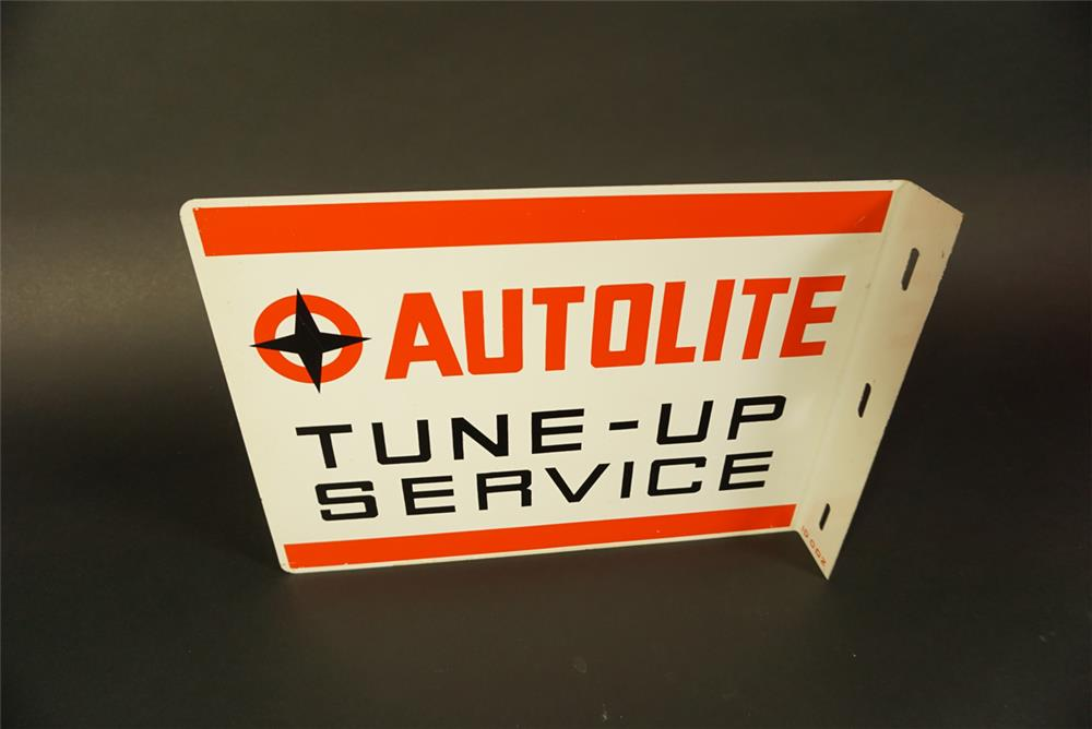 Unusual 1960s Ford Autolite tin dealership flange sign. - Front 3/4 - 191672