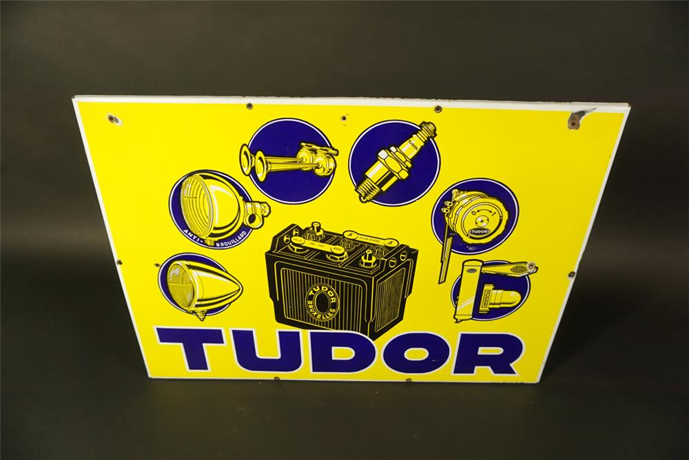 Rare 1935 Tudor Auto Accessories single-sided porcelain automotive garage sign with amazing graphics. - Front 3/4 - 191675