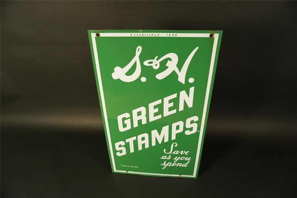 Seldom-seen 1956 S&H Green Stamps double-sided porcelain service station sign. - Front 3/4 - 191677