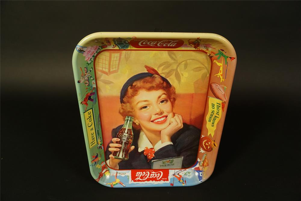 1950s Coca-Cola diner servicing tray with girl/bottle artwork. - Front 3/4 - 191713