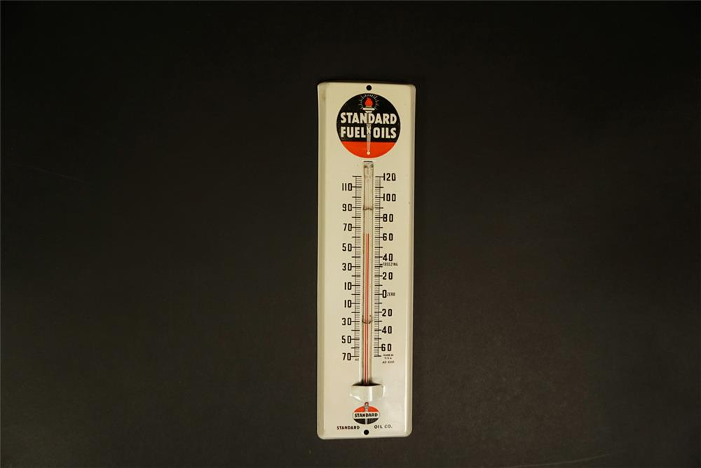 1950s Standard Fuel Oils single-sided tin promotional thermometer with logo. - Front 3/4 - 191716