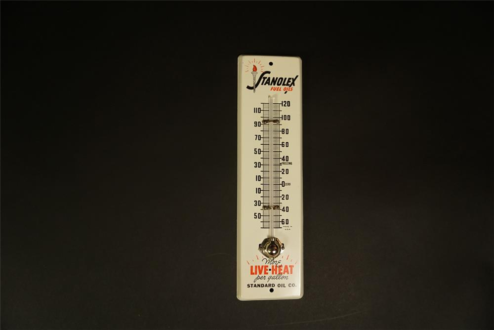 1950s Standard Oil Stanoflex Fuel Oils tin promotional service station thermometer with logo. - Front 3/4 - 191717