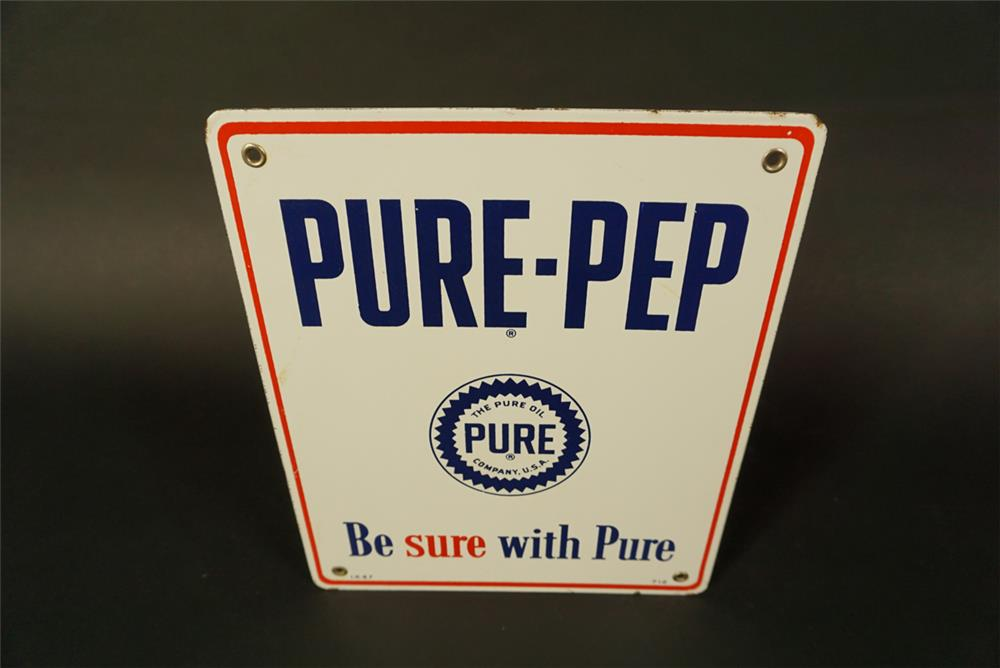 "Very clean 1957 Pure Oil ""Pure-Pep"" Gasoline single-sided porcelain pump plate sign. - Front 3/4 - 191726"