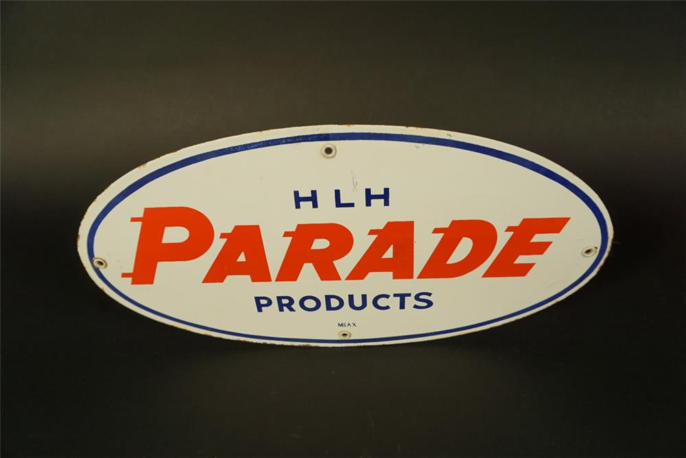 1950s Parade Oil Products of Texas single-sided porcelain pump plate sign. - Front 3/4 - 191728