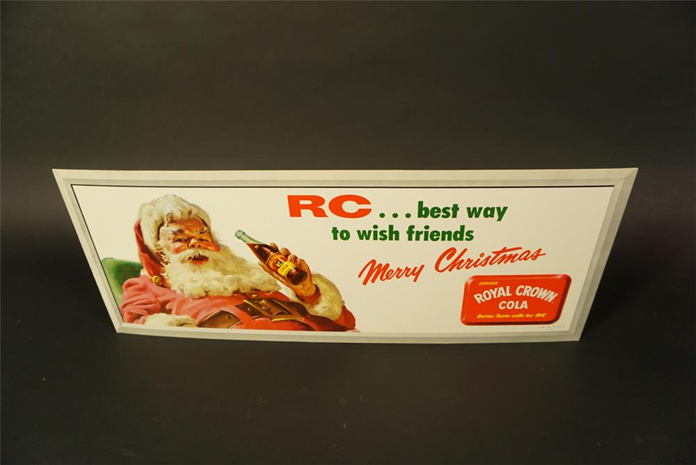 NOS late-1950s Royal Crown Cola trolley cardboard sign with holiday motif. - Front 3/4 - 191732
