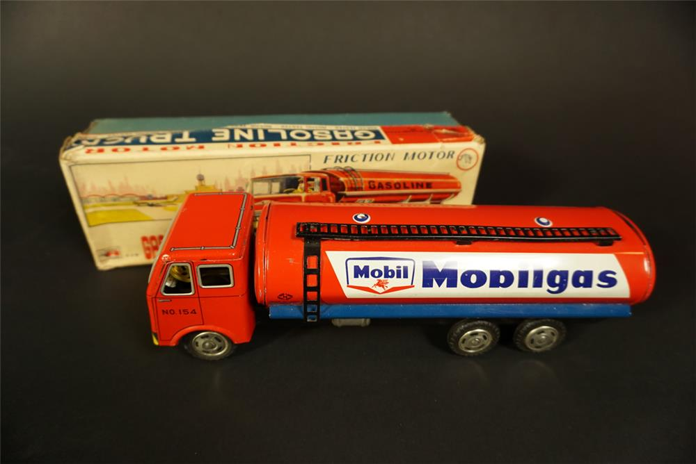 NOS 1960s Mobilgas friction drive tanker truck still in the original box. - Front 3/4 - 191734