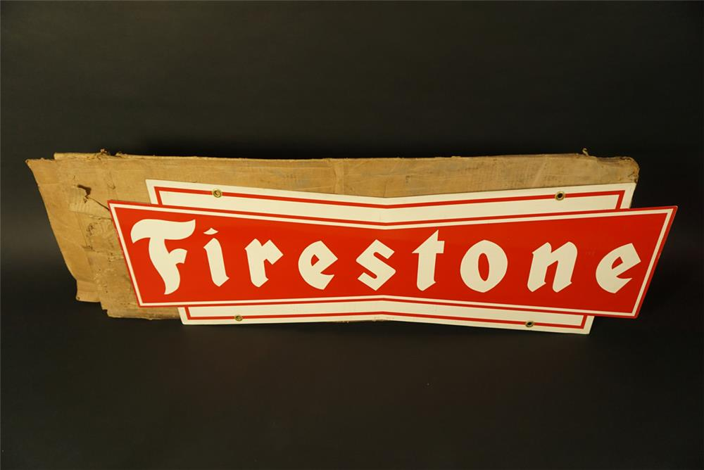 Fantastic NOS Firestone Tires double-sided die-cut tin bow-tie shaped automotive garage sign found in the original box. - Front 3/4 - 191743