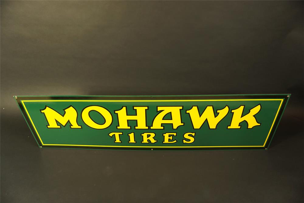 Stellar NOS Mohawk Tires single-sided porcelain automotive garage sign. - Front 3/4 - 191747