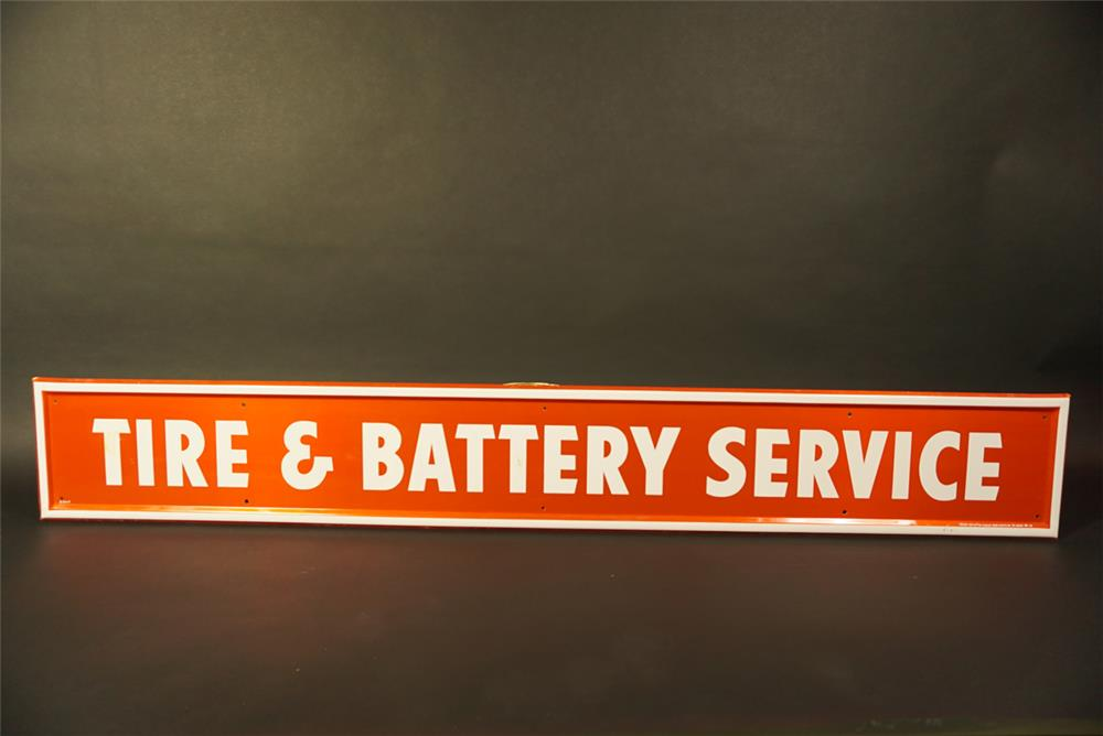 NOS Firestone Tire and Battery Service single-sided tin automotive garage sign. - Front 3/4 - 191748