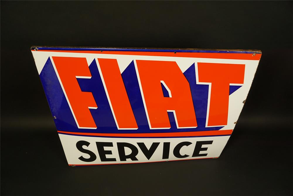 Hard to find 1950s Fiat Service single-sided porcelain automotive garage sign. - Front 3/4 - 191750