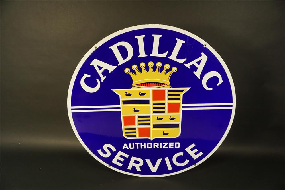 Killer 1940s-50s Cadillac Authorized Service double-sided porcelain automotive garage sign. - Front 3/4 - 191751