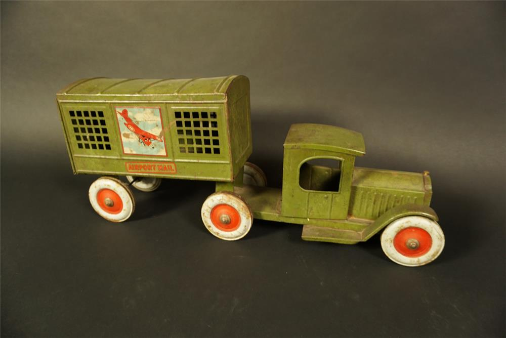All original 1920s Structo Toys Airport Mail delivery truck. Truly a museum quality piece. - Front 3/4 - 191757