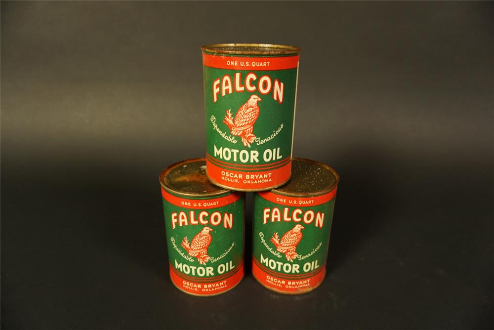 Lot of three Falcon Motor Oil metal quart cans with nice graphics. - Front 3/4 - 191758