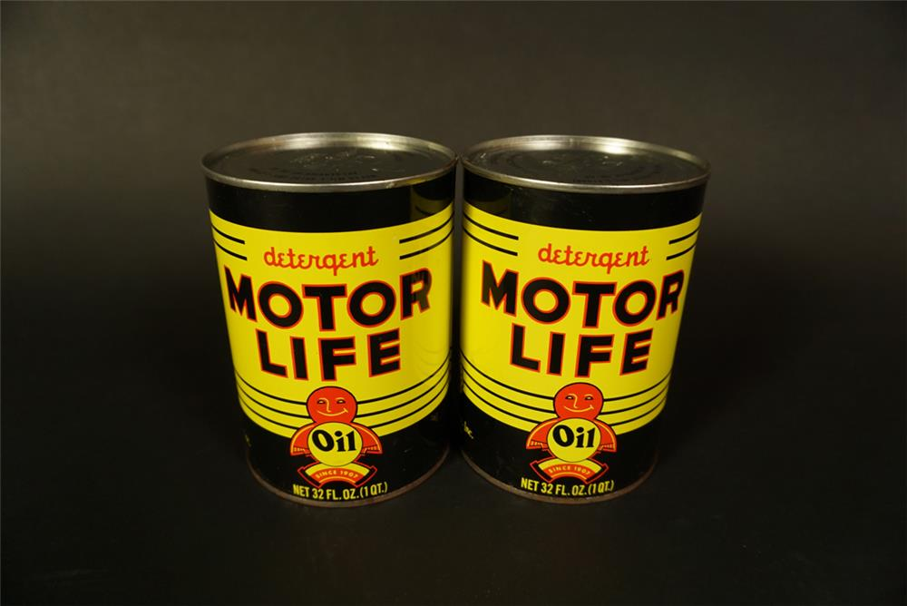 Lot of two Motor Life Detergent Oil metal quart cans. - Front 3/4 - 191759