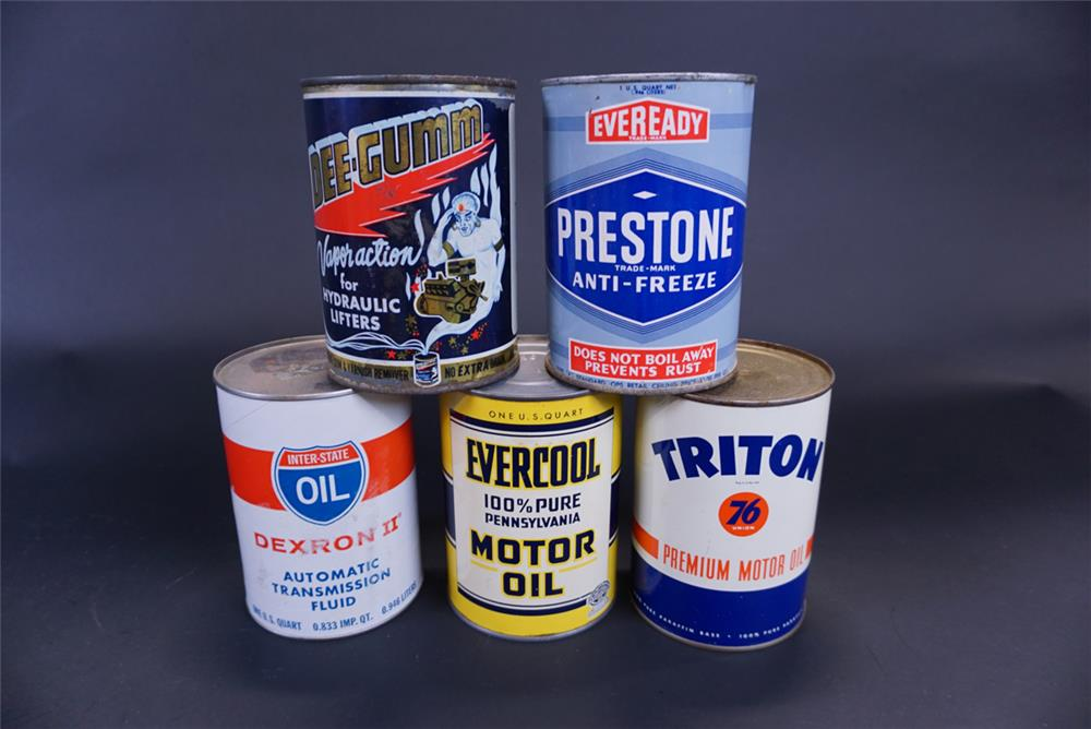 Lot of five metal quart tins from the 1940s thru 1960s - Front 3/4 - 191760