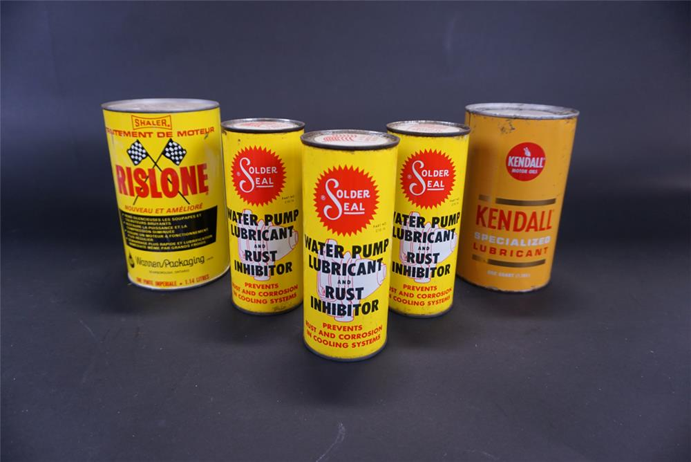 Lot of five circa 1960s tins for Rislone, Solder Seal and Kendall. - Front 3/4 - 191762