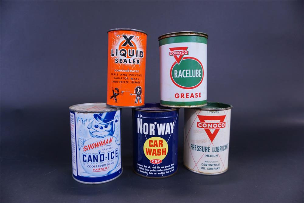 Lot of five tins from the 1930s thru 50s for Conoco, Liquid X, Nor'Way and Snowman Can'd Ice. - Front 3/4 - 191764
