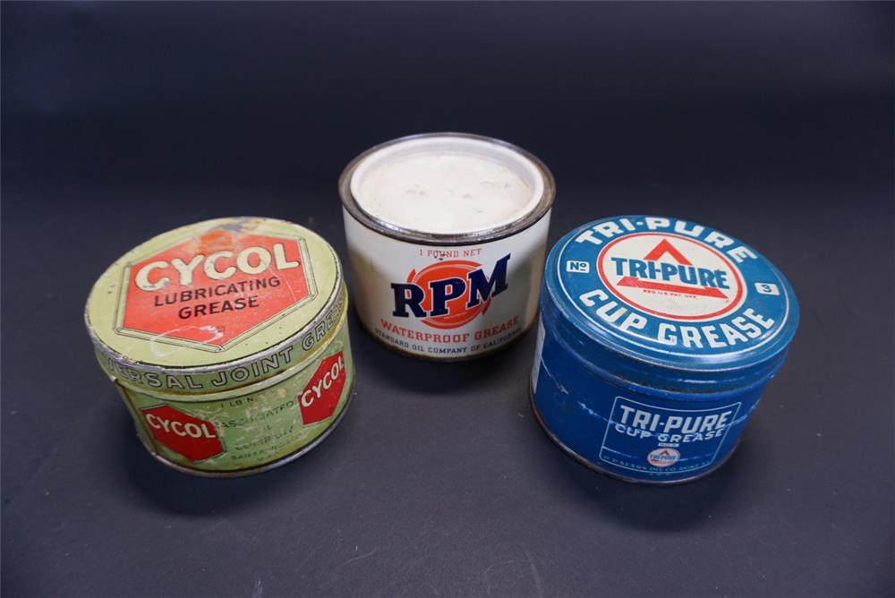 Lot of three 1920s-50s one-pound grease tins for Cycol, Rpm and Tri-Pure. - Front 3/4 - 191765