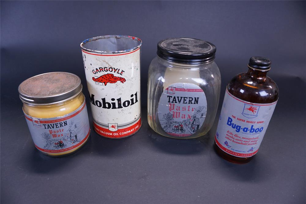 Lot of four Mobil oil related tins circa 1930s-40s. - Front 3/4 - 191769