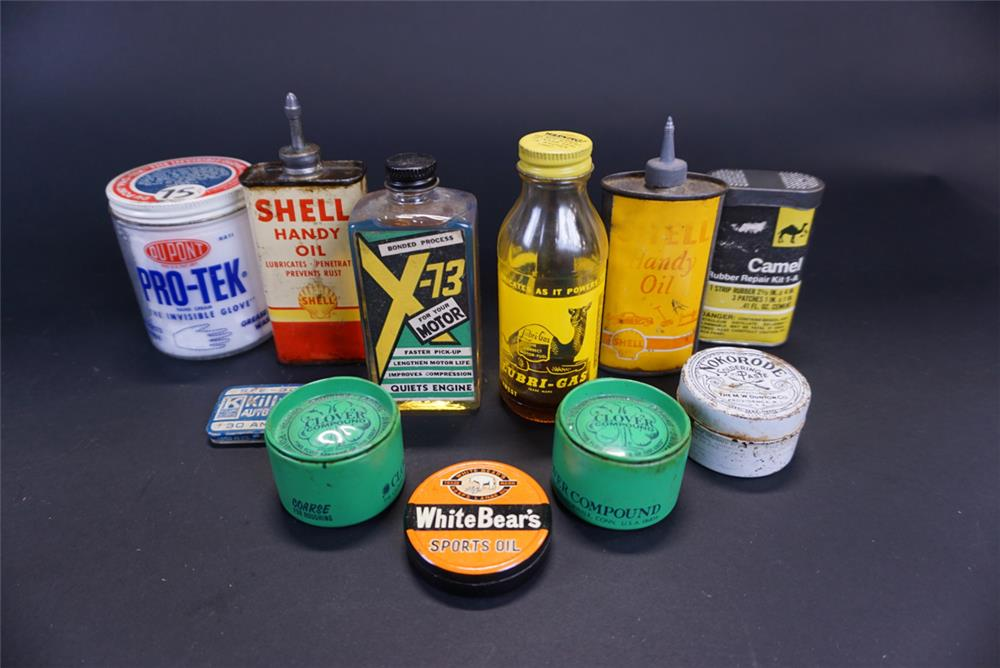 Lot of eight automotive garage tins circa 1920s-60s - Front 3/4 - 191770