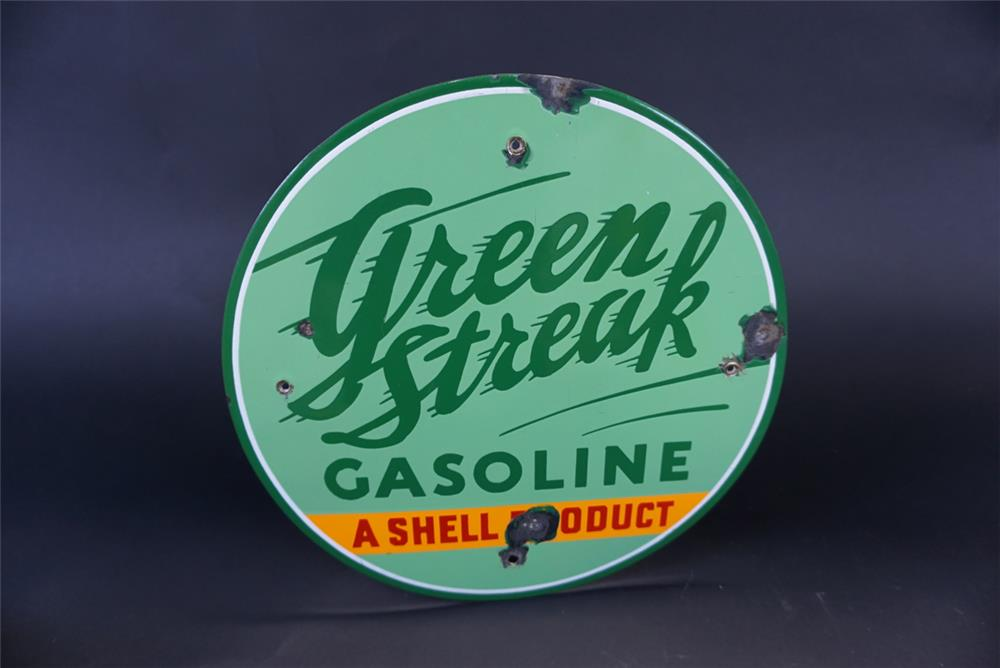 "Seldom-seen 1930s Green Streak Gasoline ""A Shell Product"" single-sided porcelain pump plate sign. - Front 3/4 - 191772"