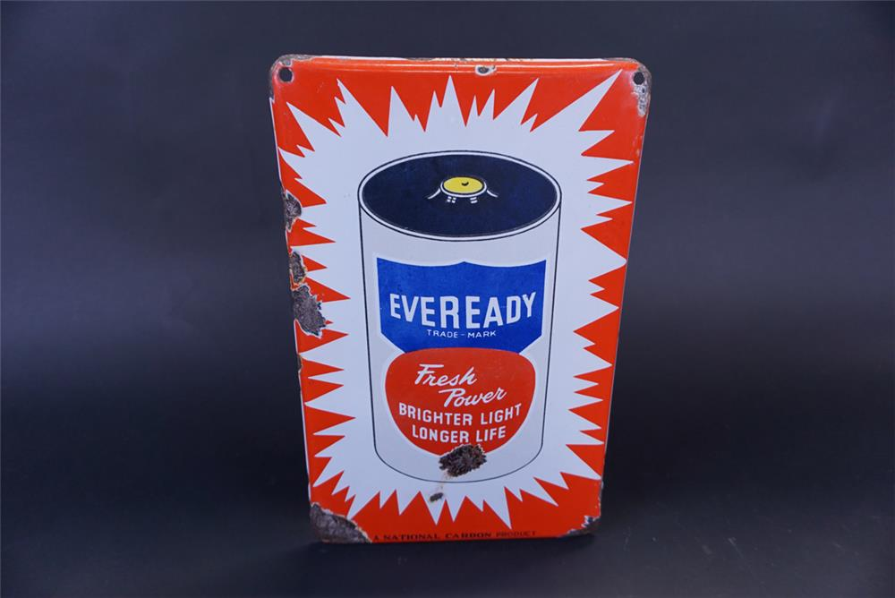 "1950s Eveready Batteries ""A National Carbon Product"" single-sided porcelain sign - Front 3/4 - 191775"
