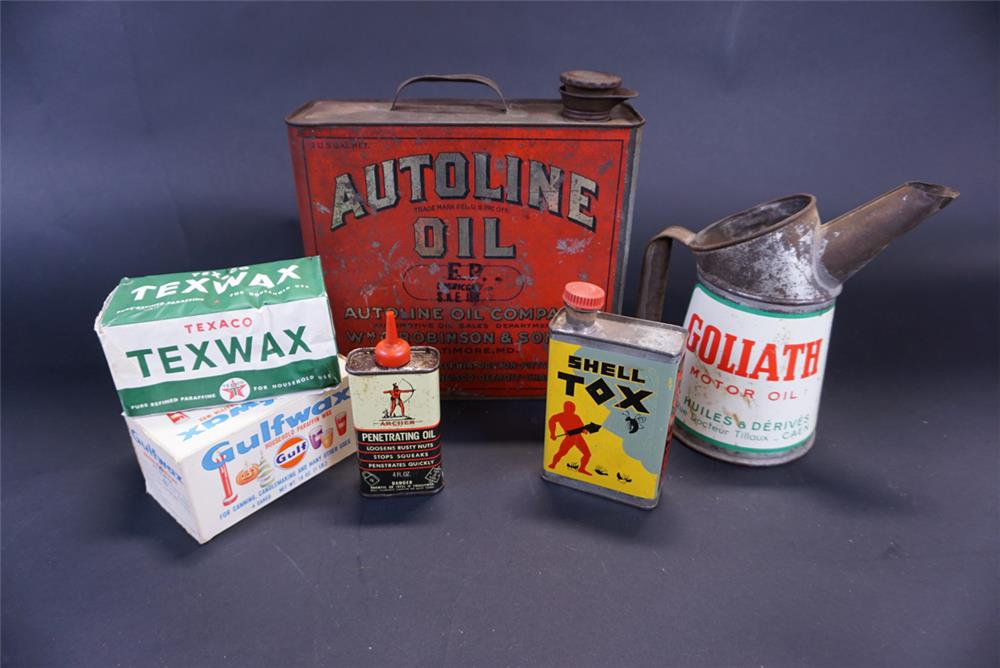 Lot of six assorted automotive tins circa 1920s-60s. - Front 3/4 - 191776