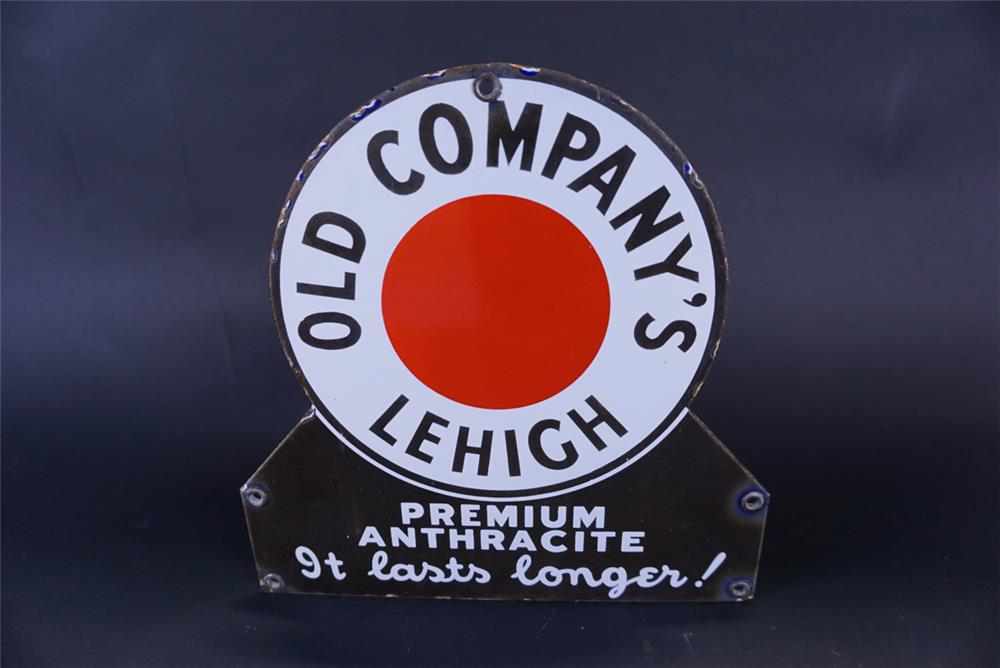 Unusual 1930s Old Company's Lehigh Anthracite Coal single-sided porcelain sign. - Front 3/4 - 191777