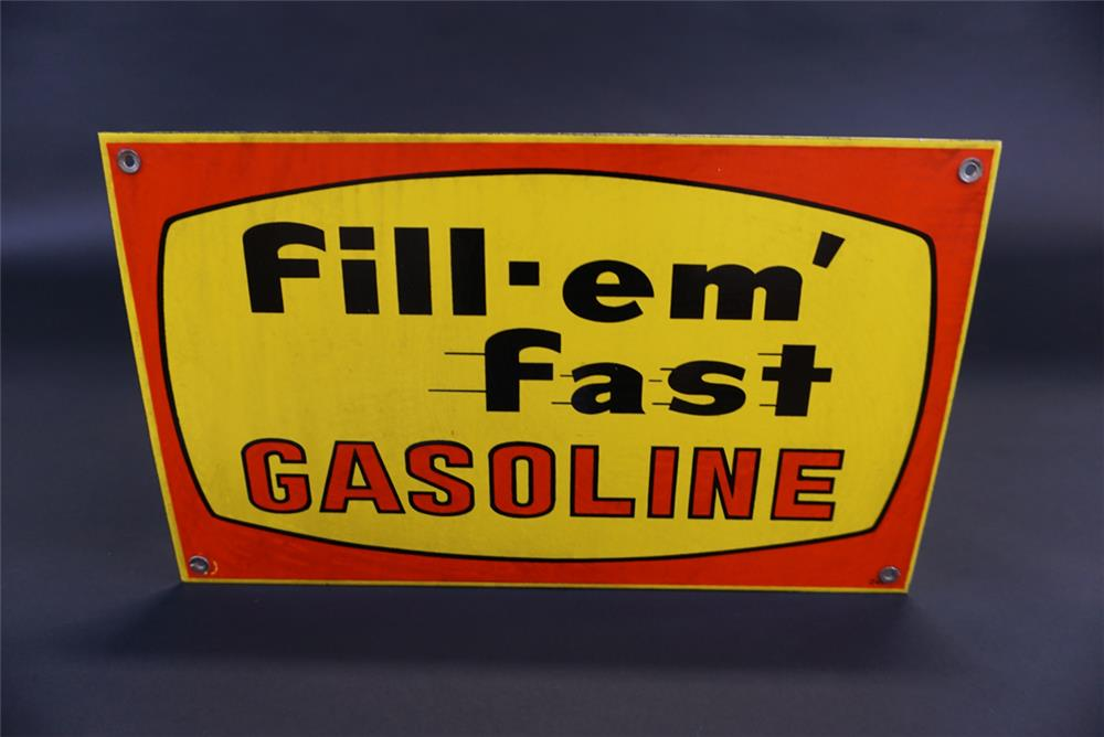 Very nice Fill 'Em Fast Gasoline single-sided porcelain pump plate sign. - Front 3/4 - 191783
