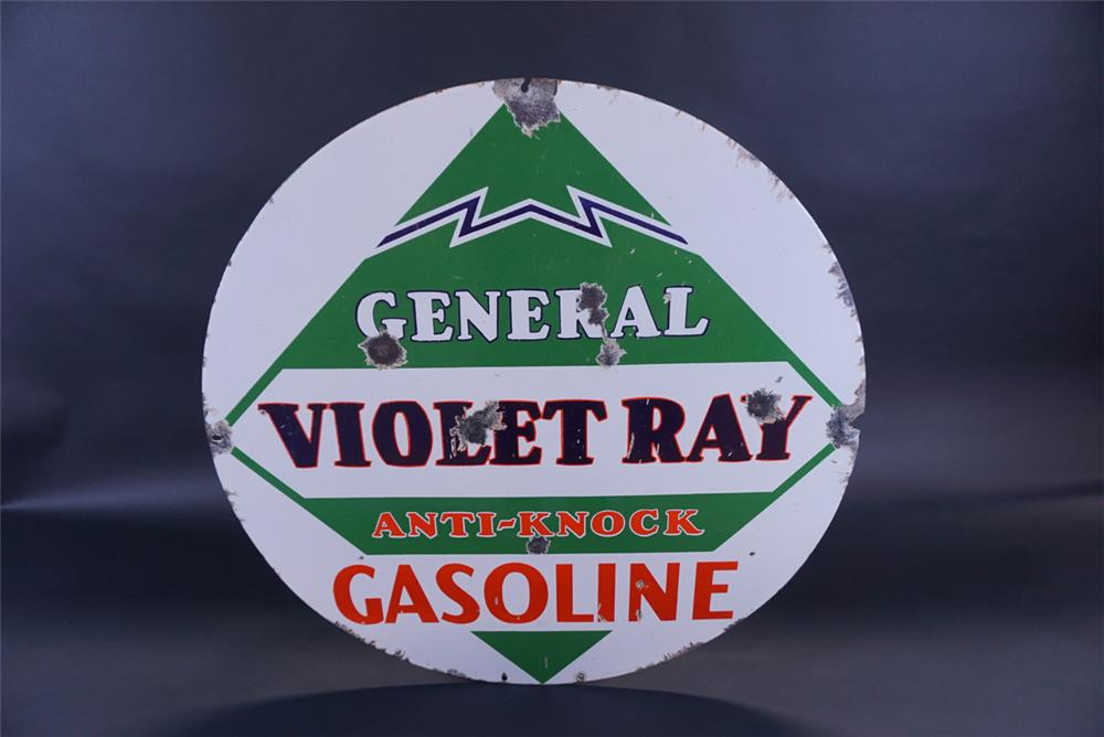 Rare 1930s General Violet Ray Anti-Knock Gasoline double-sided porcelain sign. - Front 3/4 - 191784