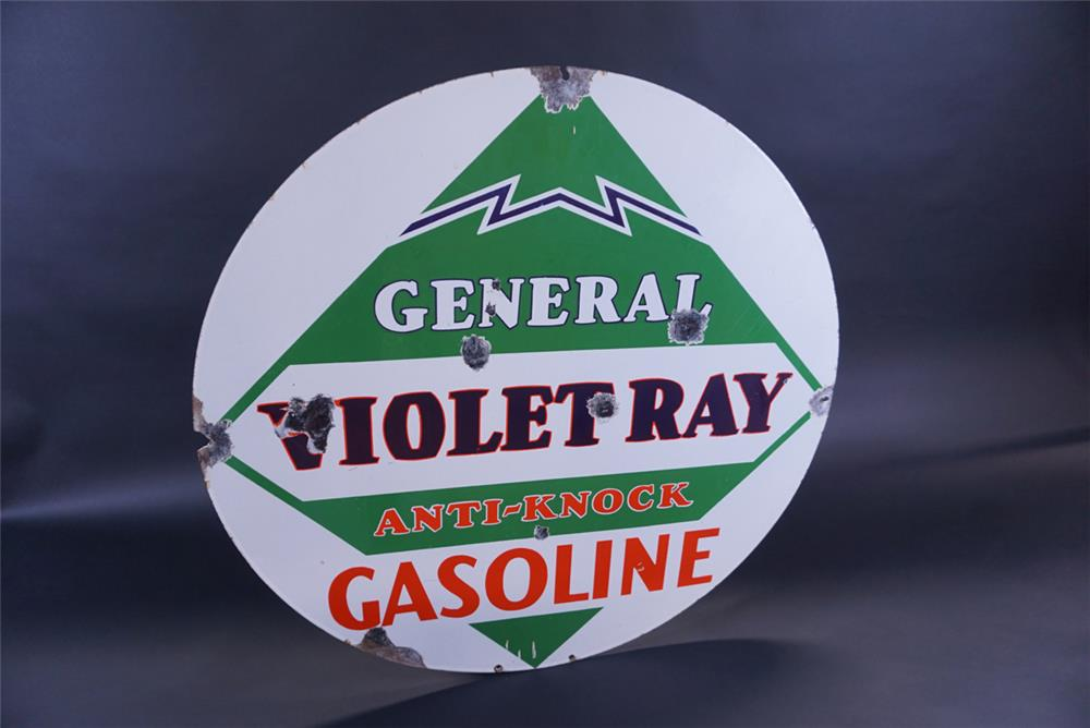 Rare 1930s General Violet Ray Anti-Knock Gasoline double-sided porcelain sign. - Rear 3/4 - 191784