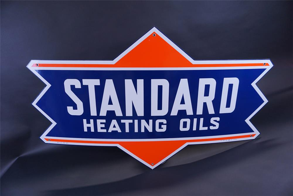 Beautiful NOS 1955 Standard Heating Oils single-sided die-cut porcelain sign. - Front 3/4 - 191785
