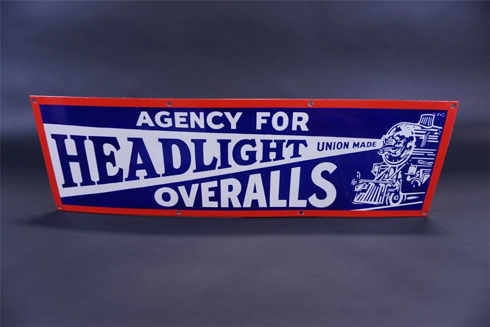 Beautifully restored 1930s Headlight Overalls single-sided porcelain general store sign - Front 3/4 - 191788