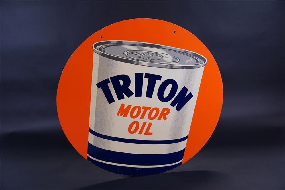 Choice Union 76 Royal Triton motor oil double-sided masonite service station sign - Front 3/4 - 191793