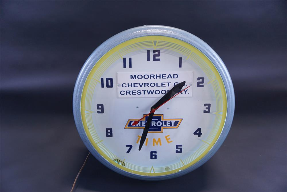 Impressive 1940s Chevrolet Time neon dealership showroom sales clock. - Front 3/4 - 191796