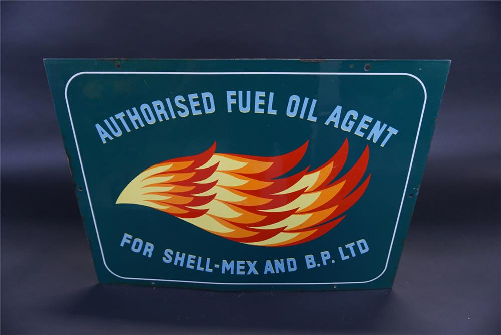 Very nice 1950s Shell-Mex and B.P. Limited Fuel Oil single--sided porcelain sign. - Front 3/4 - 191797