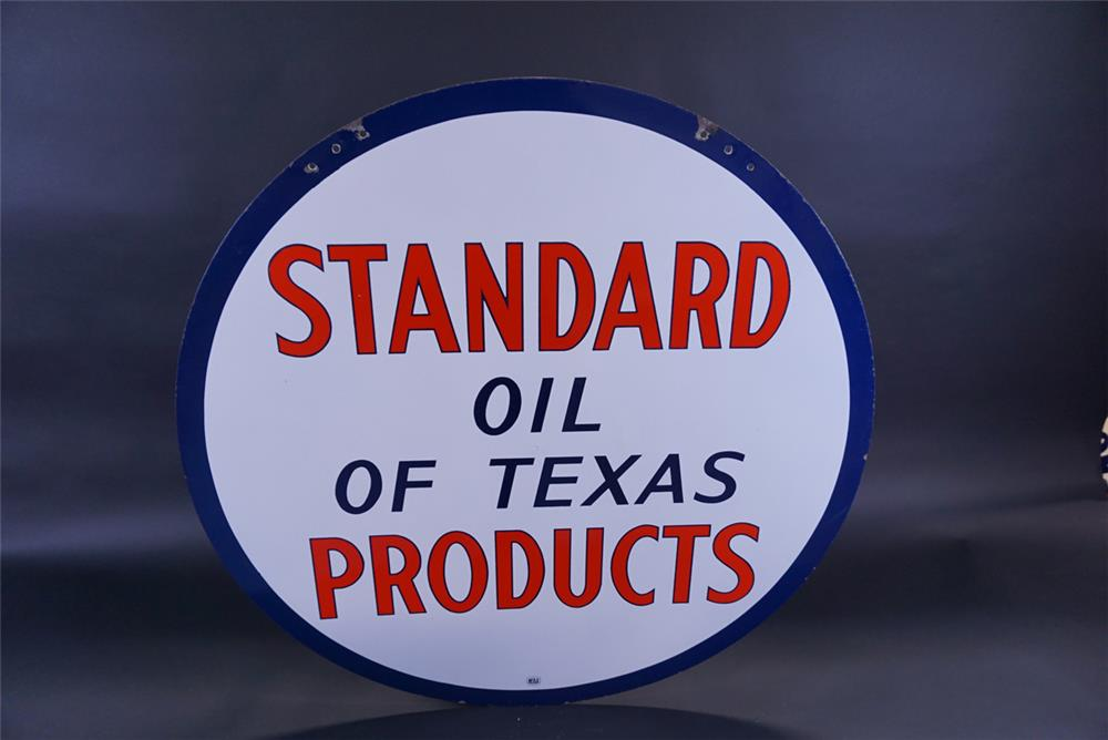 Sharp circa 1940s Standard Oil of Texas Products double-sided porcelain service station sign. - Front 3/4 - 191799