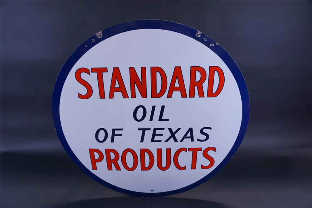 Sharp circa 1940s Standard Oil of Texas Products double-sided porcelain service station sign. - Rear 3/4 - 191799