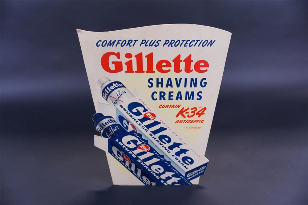 1948 Gillette Shaving Creams countertop display cardboard sign with easel back. - Front 3/4 - 191802