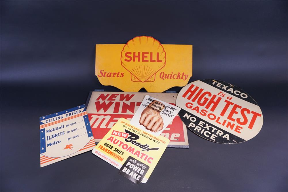 Lot of five service station promotional advertisement cardboard pieces from the 1930s thru 50s. - Front 3/4 - 191804