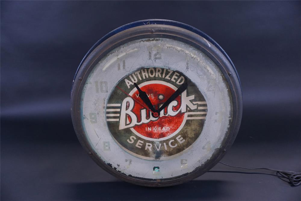 Circa 1940s-50s Buick Authorized Service neon dealership clock. - Front 3/4 - 191806