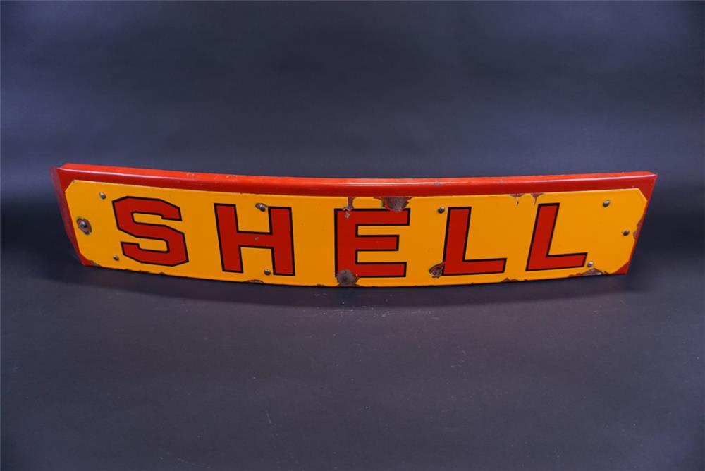 1940s Shell Oil delivery tanker truck single-sided porcelain sign with mounting bracket. - Front 3/4 - 191807